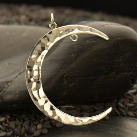 Silver Moon Pendant - Right Facing with Fixed Jump Ring