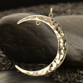 Silver Moon Pendant - Left Facing with Fixed Jump Ring
