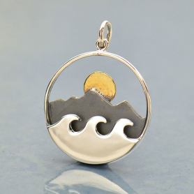 Silver Mountain and Ocean Pendant with Bronze Sun 26x20mm