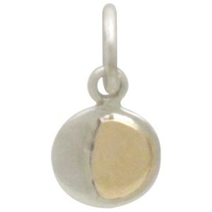 Silver Moon Charm with Bronze Waxing Gibbous DISCONTINUED