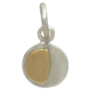 Silver Moon Charm with Bronze Waning Gibbous DISCONTINUED