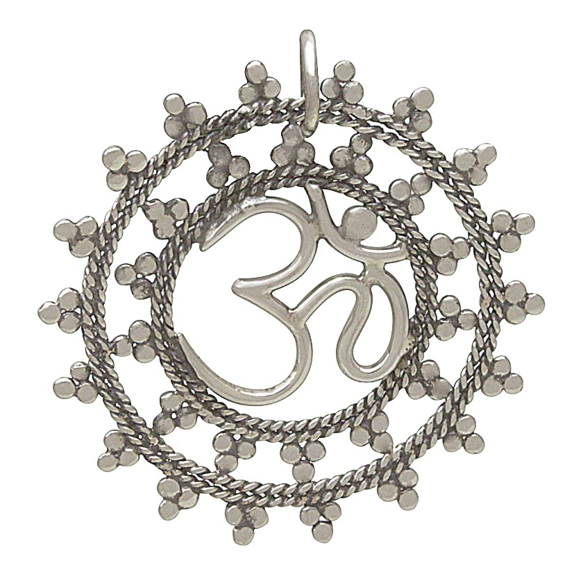 Sterling Silver Open Mandala Pendant with Ohm 13x6mm