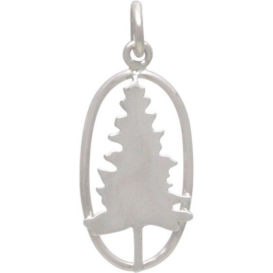 Sterling Silver Pine Tree Charm. 25x10mm