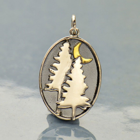 Sterling Silver Pine Tree Charm with Bronze Moon 26x15mm