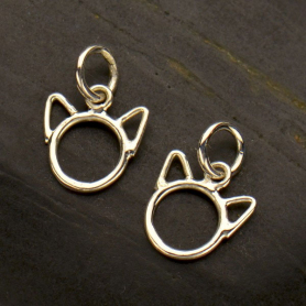 Sterling Silver Cat Charm with Cute Cat Head with Ears