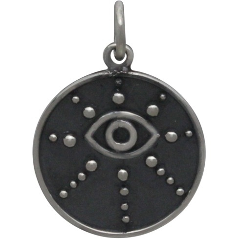 Sterling Silver Evil Eye Pendant with Granulation 21x15mm