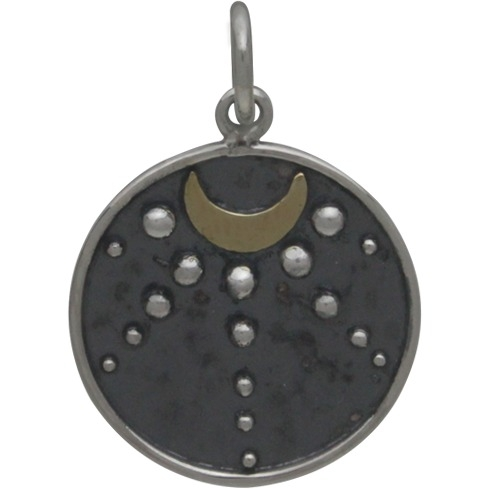 Silver Talisman Charm with Moon and Granulation 21x15mm