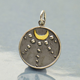 Sterling Silver Talisman Charm with Moon and Granulation