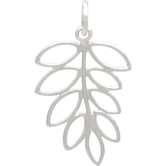 Sterling Silver Leaf Pendant - Openwork Fern Charm 26x14mm