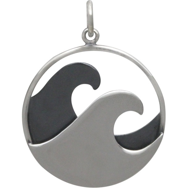 Large Sterling Silver Double Wave Pendant 26x20mm