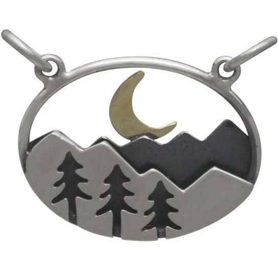 Silver Oval Mountain Pendant with Trees and Moon 18x20mm