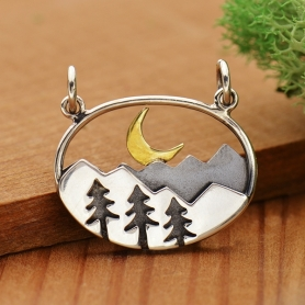 Sterling Silver Oval Mountain Pendant with Trees and Moon