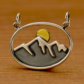 Sterling Silver Oval Mountain Pendant with Bronze Sun
