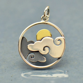 Sterling Silver Cloud Charm with Bronze Sun 21x15mm