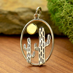 Sterling Silver Oval Cactus Pendant with Bronze Sun 27x15mm