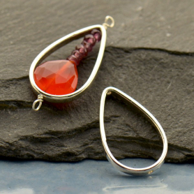 Sterling Silver Teardrop Frame with Vertical Holes 20x12mm