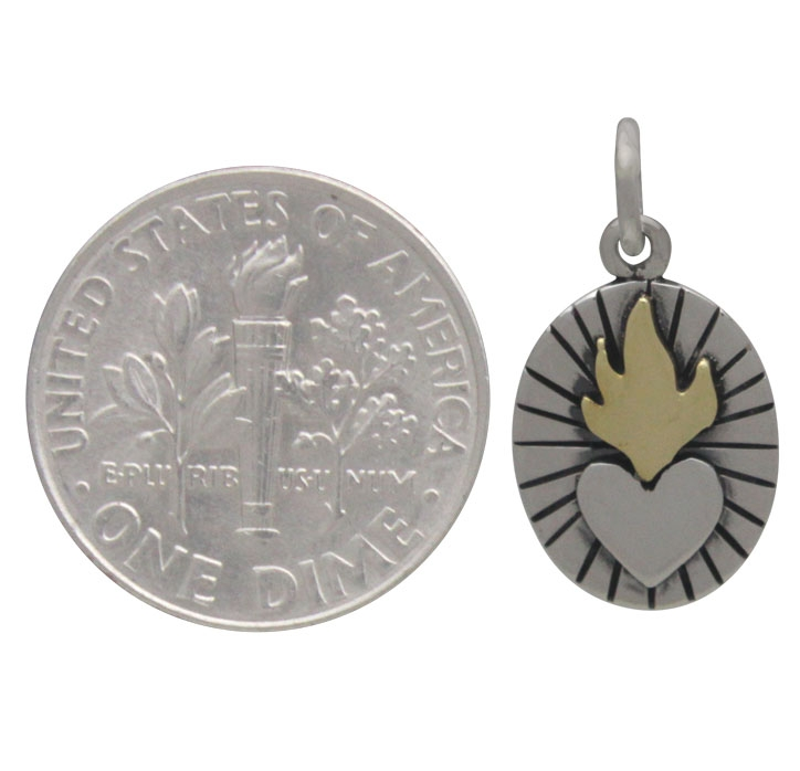 Silver Sacred Heart Charm with Bronze Flames 20x10mm