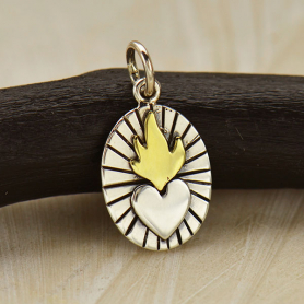 Sterling Silver Sacred Heart Charm with Bronze Flames