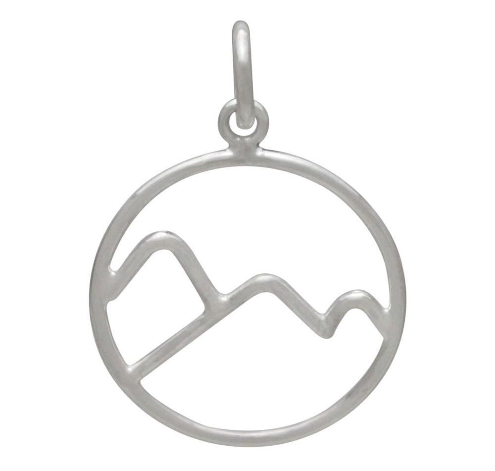 Sterling Silver Wire Mountain Charm 21x15mm