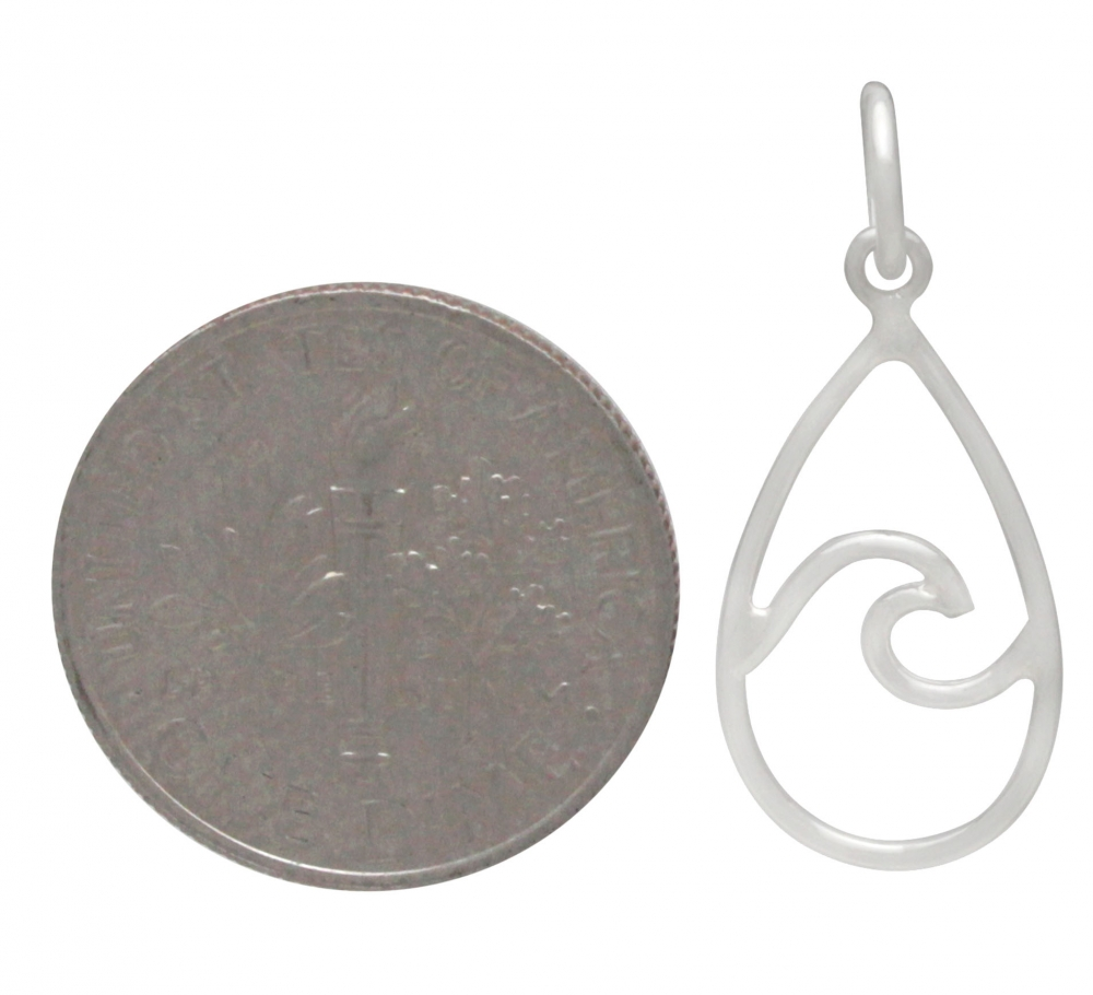 Sterling Silver Wire Wave Charm - Teardrop Shape 23x10mm