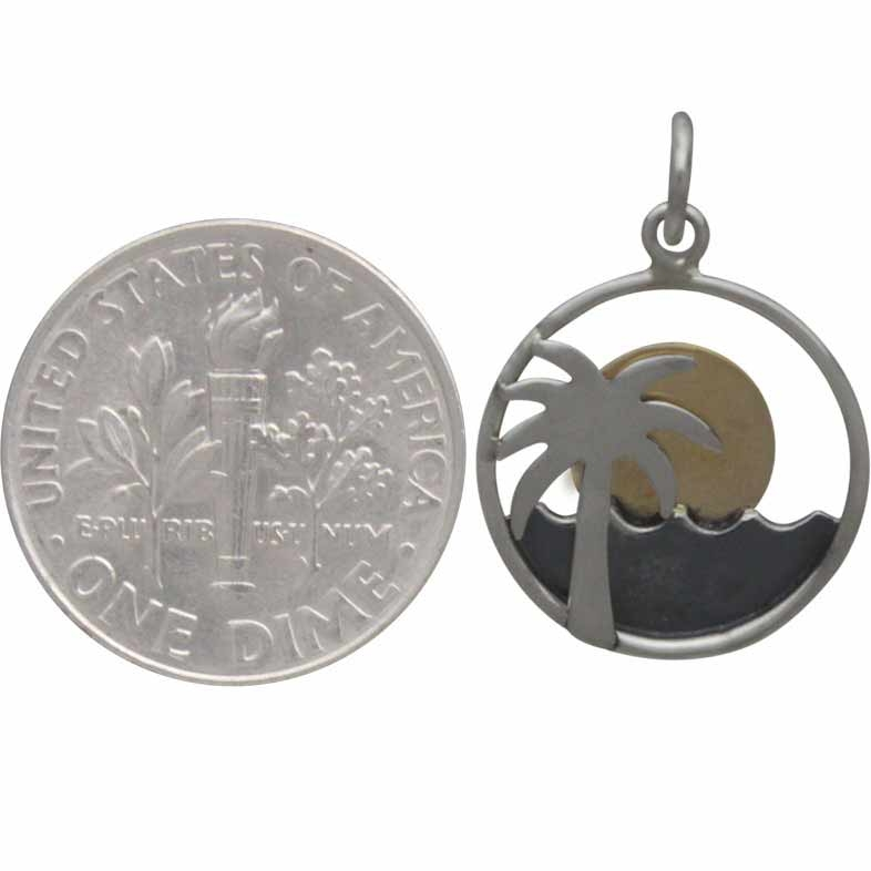 Silver Palm Tree and Ocean Charm with Bronze Sun 22x15mm