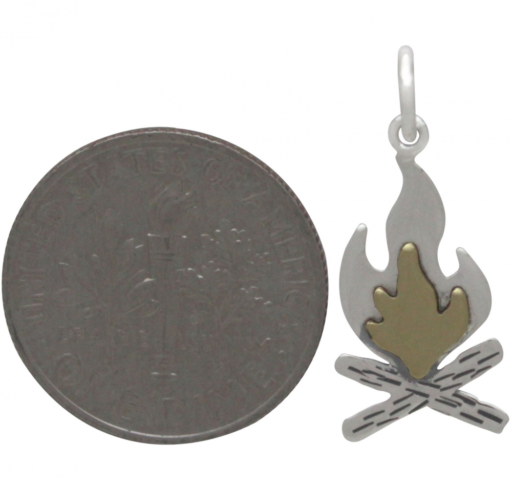 Sterling Silver Campfire Charm with Bronze Flames