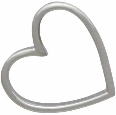 Sterling Silver Heart Bead Frame with Holes 15x16mm