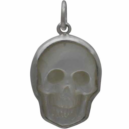 Hand Carved Mother of Pearl Skull Charm 21x15mm