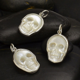 Hand Carved Mother of Pearl Skull Charm -21mm