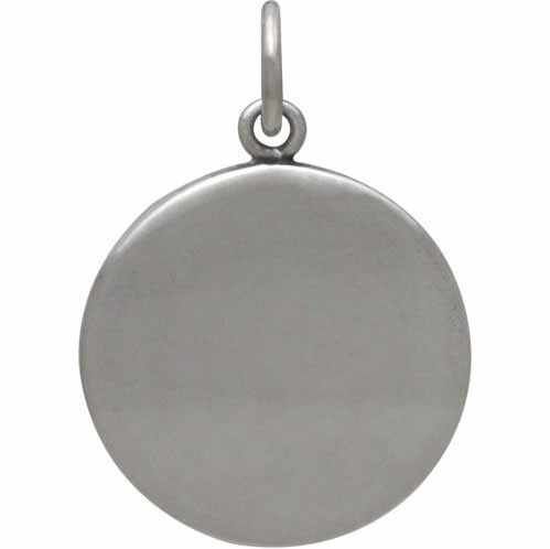 Sterling Silver Mountain Charm with Bronze Crescent 21x15mm