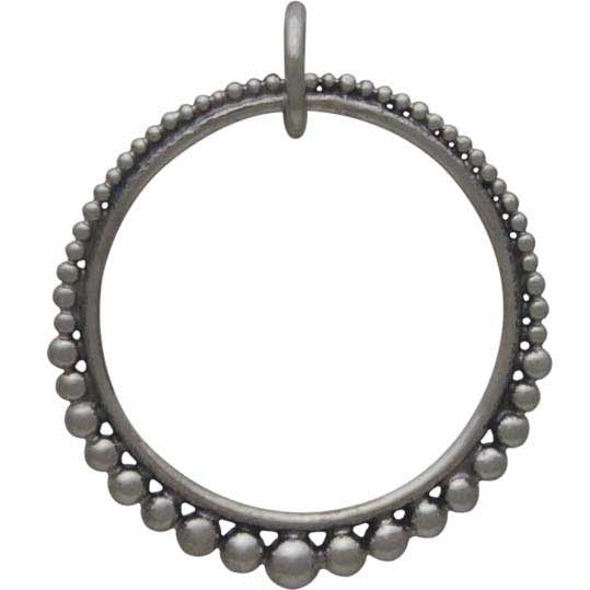 Silver Circle Link with Graduated Granulation 23x19mm