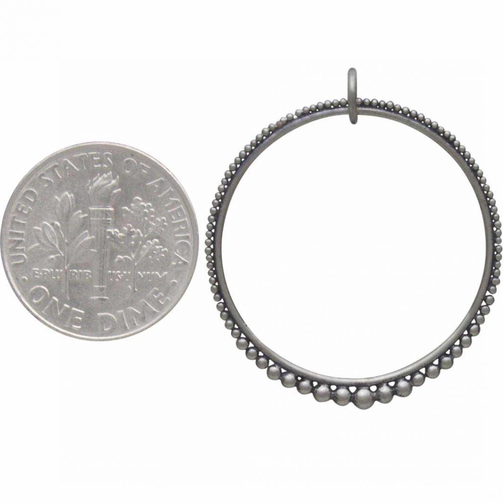 Sterling Silver Circle Link with Graduated Granulation -32mm