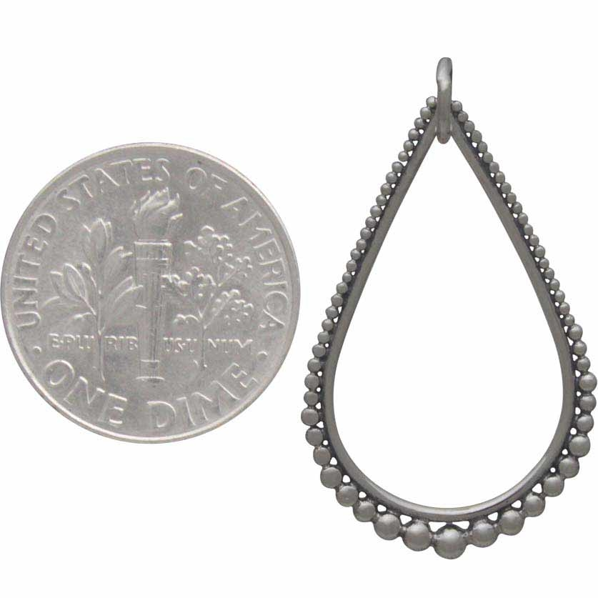 Silver Teardrop Link with Graduated Granulation 30x18mm