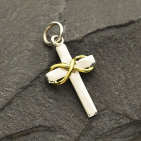 Sterling Silver Cross with Bronze Infinity on Crossbar
