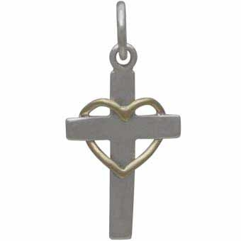 Sterling Silver Cross with Wire Bronze Heart - Faith Charm