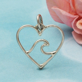 Sterling Silver Heart Charm with Wave - Ocean Charm 18x15mm