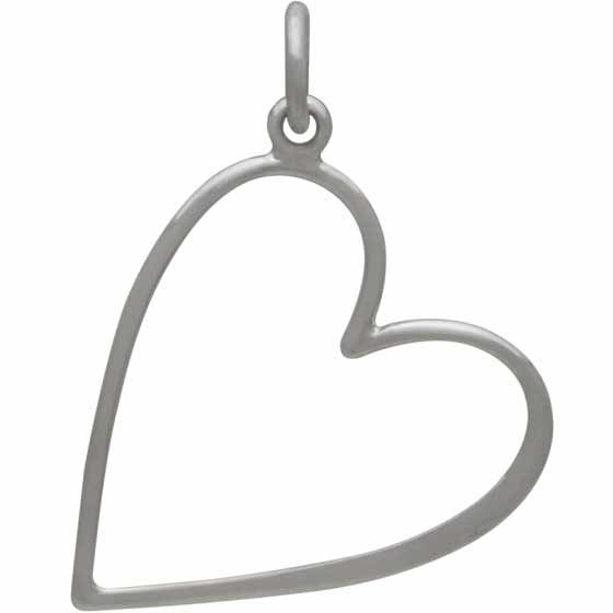 Sterling Silver Large Heart Charm Hangs at an Angle 26x18mm