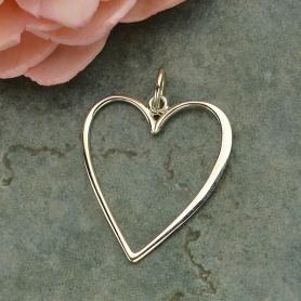 Sterling Silver Large Heart Charm that Hangs Straight