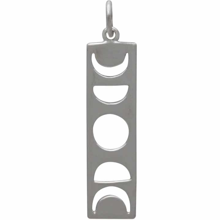 Sterling Silver Moon Phase Cutout Charm -  Rectangle 31x7mm