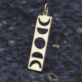 Sterling Silver Moon Phase Cutout Charm -  Rectangle