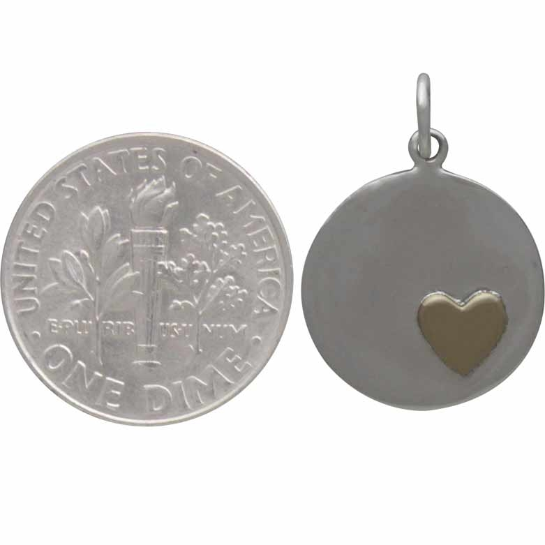 Sterling Silver Disk Charm with Bronze Heart 21x15mm
