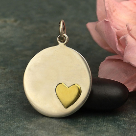 Sterling Silver Disk Charm with Bronze Heart