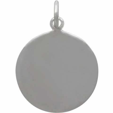 Sterling Silver Disk Charm with Two Bronze Hearts 21x15mm