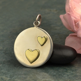 Sterling Silver Disk Charm with Two Bronze Hearts