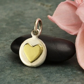 Sterling Silver Small Disk Charm with Bronze Heart 14x8mm