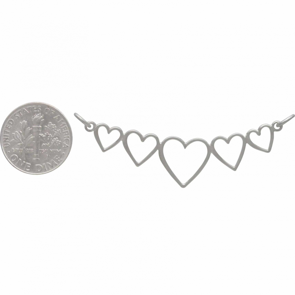 Sterling Silver Five Heart Pendant Festoon 23x46mm