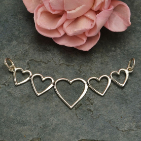 Sterling Silver Five Heart Festoon - Linked Heart Pendant