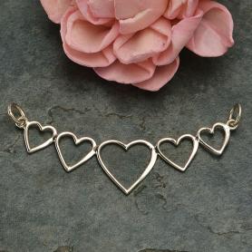 Sterling Silver Five Heart Pendant Festoon 23x46mm