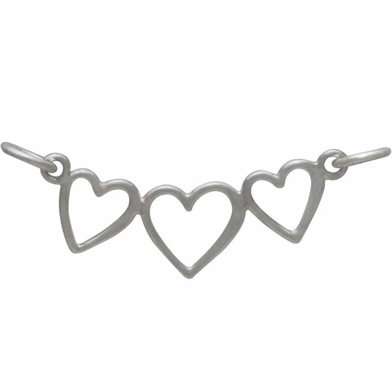Sterling Silver Three Heart Pendant Festoon 15x25mm