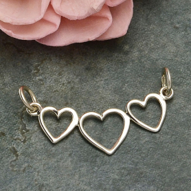 Sterling Silver Three Heart Festoon - Linked Heart Pendant